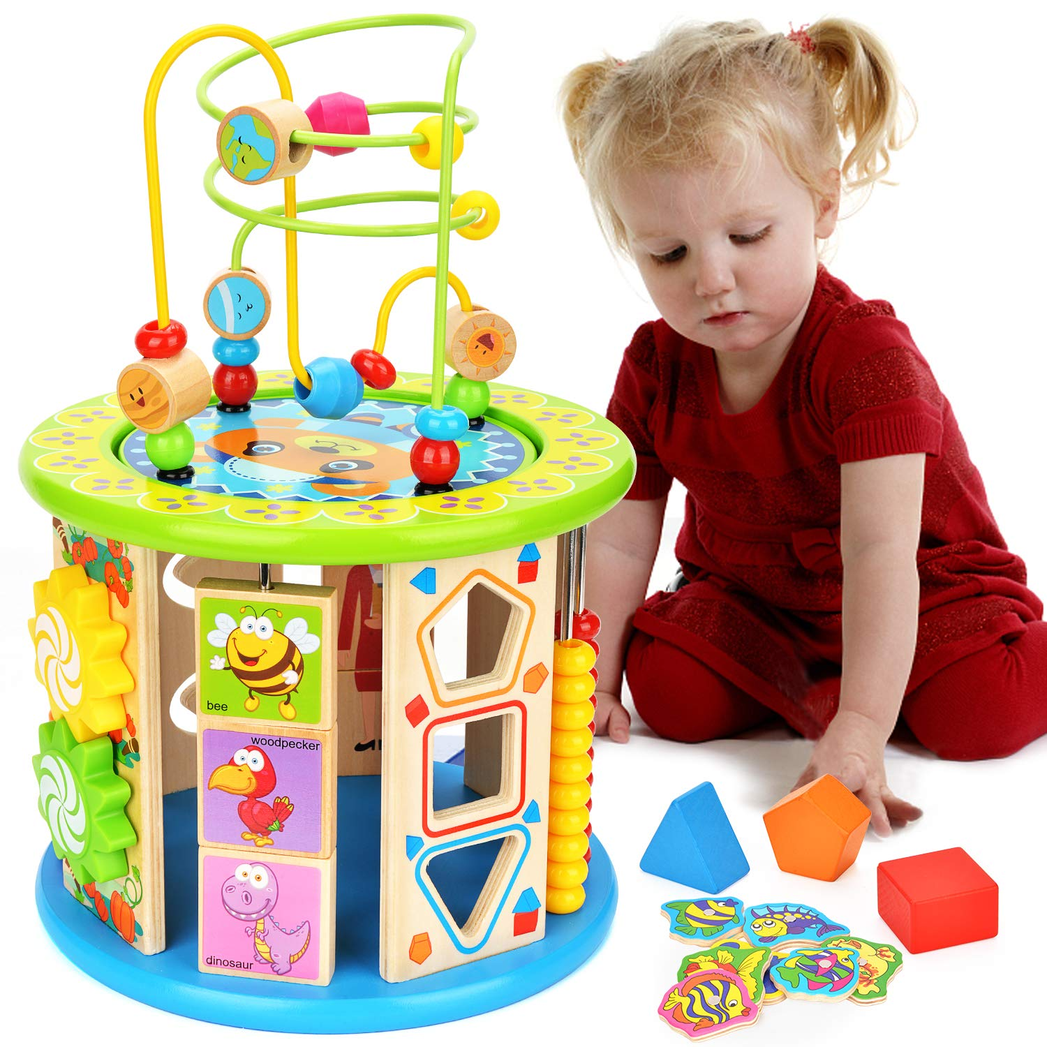 BATTOP Activity Cube Toys Baby Educational Wooden Bead Maze CPSC Certified for 1 Year Old Boy and Girl Toddlers Gift 10 in 1