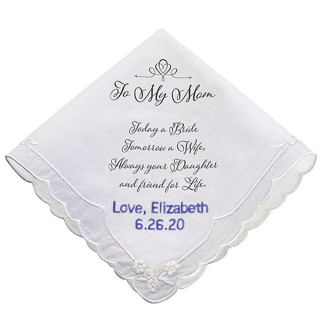 PERSONALIZED Mom Wedding White Cotton Keepsake Hankie
