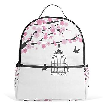 Árbol Sakura Patrón de Flor Animal Jaula de pájaro Mochila Mochila ...