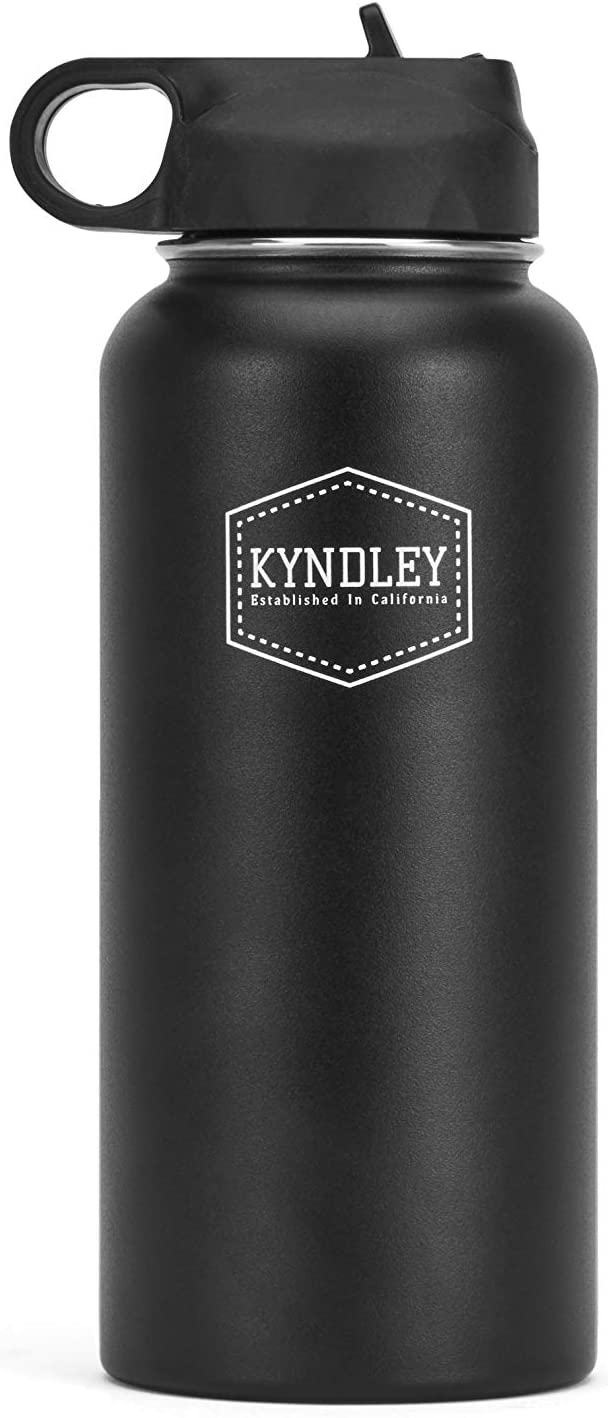 Kyndley Flask 32 oz Sports Water Bottle - Vacuum Insulated & Stainless Steel Hydro Thermos - Wide Mouth Leak Proof Flex Cap - Portable Outdoor Upto 12 Hours Hot & Cold - Double Walled, Thermal Bottle