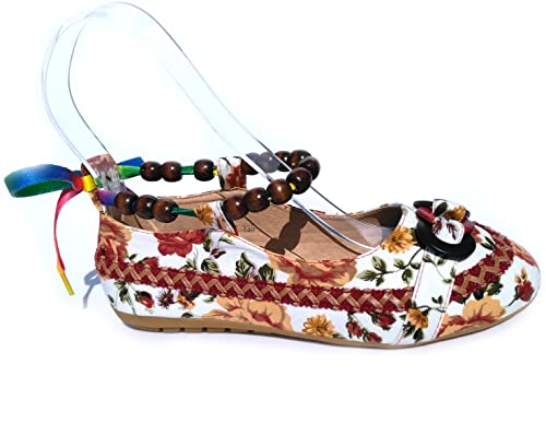 8ed3cf8ee0d2a MAKEGSI Womes Ethnic Lace up Beading Round Toe Mary Jane Embroidered  Loafers Shoes (6