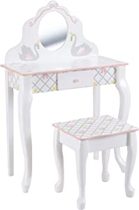 Fantasy Fields - Swan Lake Ballerina Vanity Table and Stool Set | White/Pink | Inspiring Hand Crafted & Hand Painted Details Non-Toxic, Lead Free Water-Based Paint