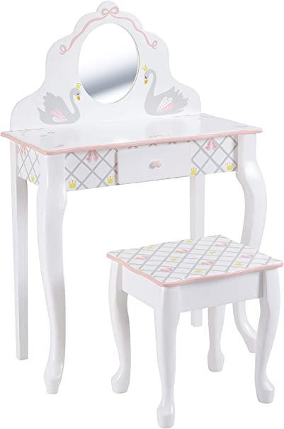Lead Free Water-based Paint Fantasy Fields Bouquet Thematic Kids Flip Top Mirror Vanity Table and Stool Set Imagination Inspiring Hand Crafted /& Hand Painted Details   Non-Toxic