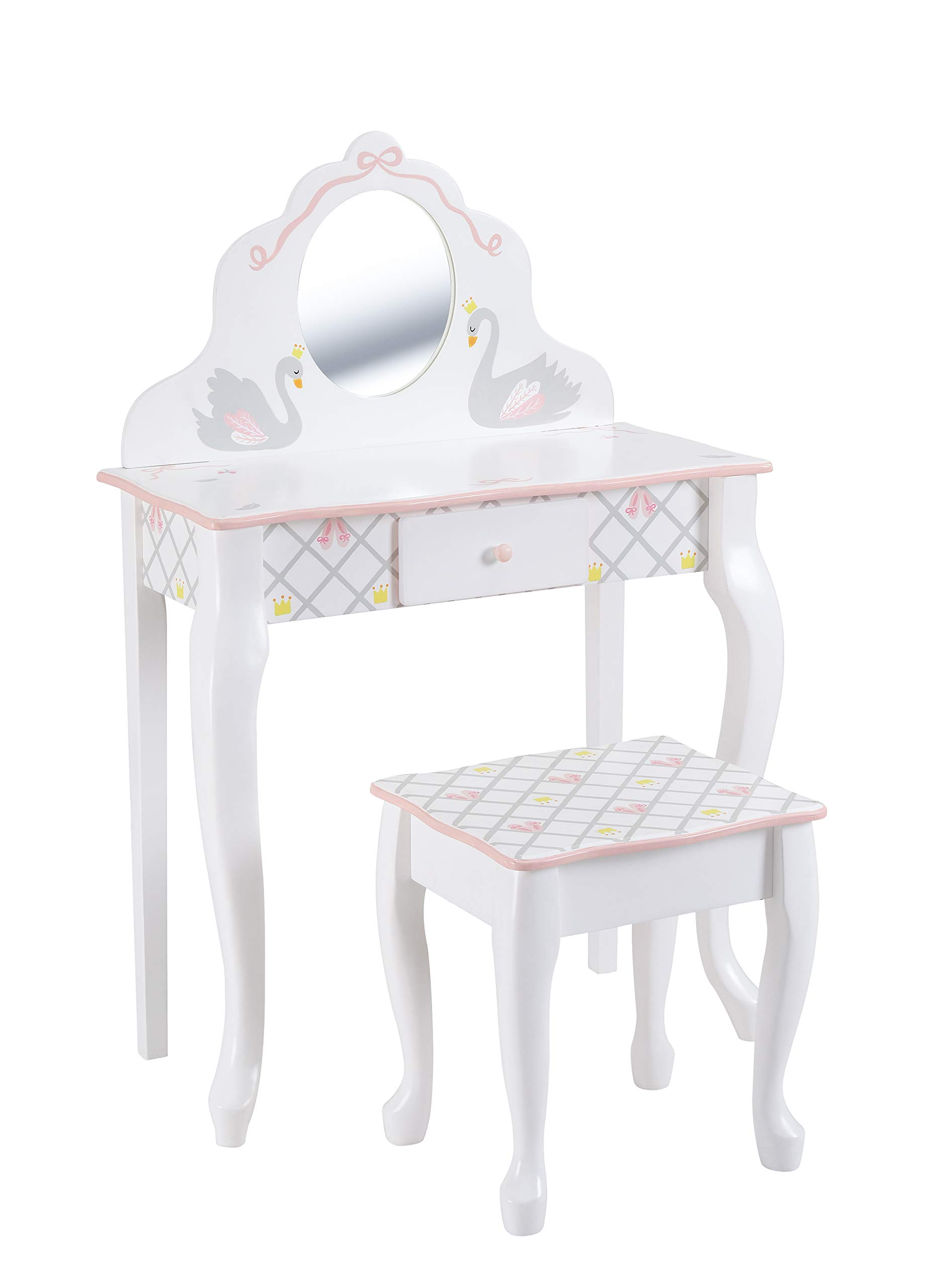 Fantasy Fields - Swan Lake Ballerina Vanity Table and Stool Set | White/Pink | Inspiring Hand Crafted & Hand Painted Details Non-Toxic, Lead Free Water-Based Paint by Fantasy Fields