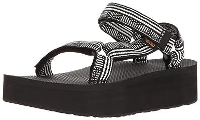 Teva Women's W Flatform Universal Sandal, Campo Black/White, ...