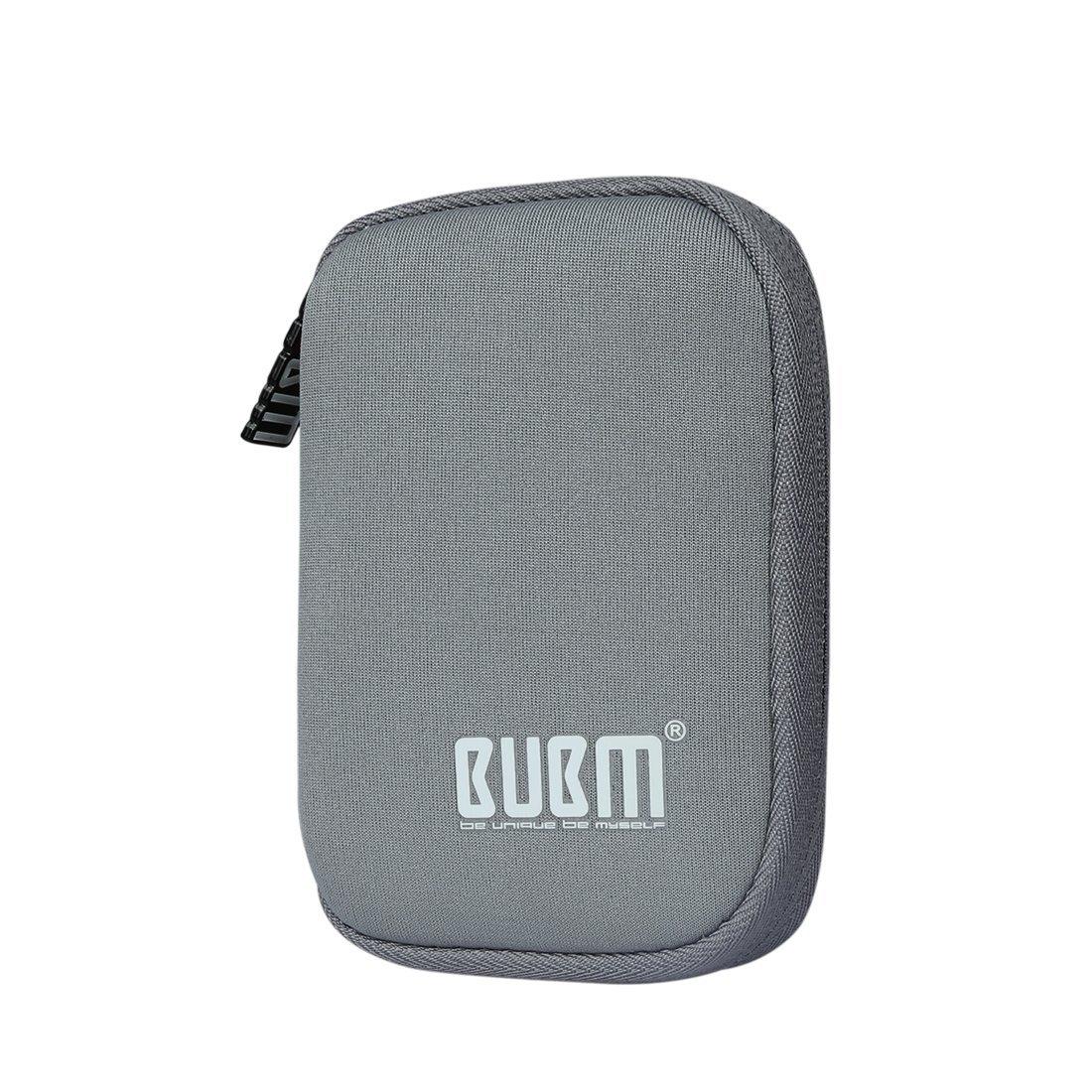 BUBM Estuche Mini para Ordenar USB Funda Suave para Proteger USB Perfectamente, Tamaño adecuerdo para llevar 6 Gomas Elásticas para Ajuestar USB, Gris