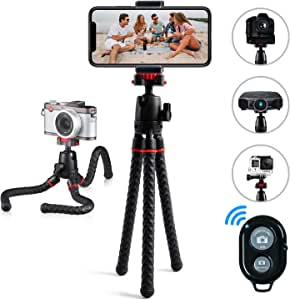 Phone Tripod Ibeston 360 Degree Rotation Foldable Flexible Octopus Travel Tripod for iPhone Camera Samsung Smartphone Sports Action Camera with Bluetooth Wireless Remote Shutter