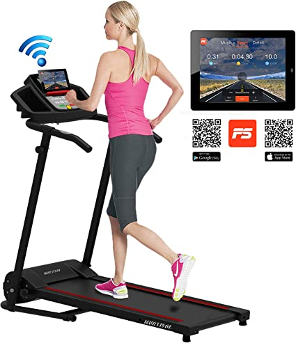 Murtisol Smart Digital Electric Folding Treadmill W/Bluetooth MT-1600 Small  Compact Running Workout Machine Good for Home/Apartment/RV Running Jogging  ...