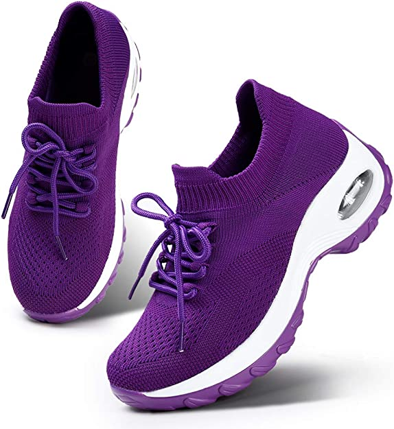 HKR Women's Lightweight Sports Tennis Shoes Comfortable Platform Walking Gym Sneakers All Purple 7(1862quanzi38)