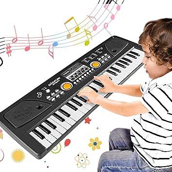 WOSTOO Teclado Electrónico Piano 49 Teclas, Teclado de Piano Portátil con Micrófono Teclado portátil Regalo para Niño, Niña Principiantes: Amazon.es: Hogar