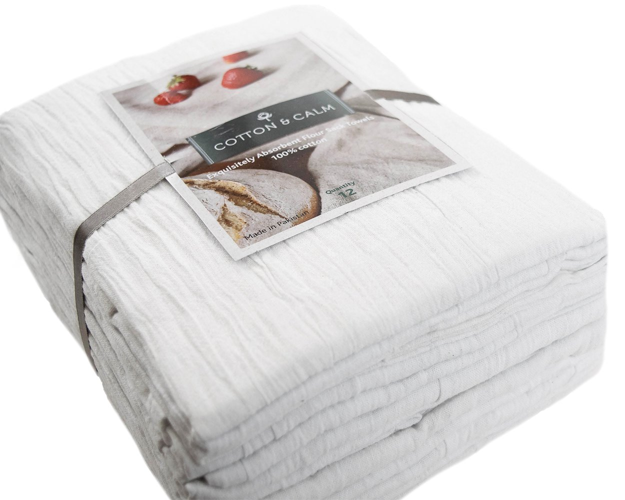 Cotton & Calm Exquisitely Absorbent Flour Sack Dish Towels (12 Pack, 28'' x 28''), 100% Cotton White Dish Cloths Kitchen Towels - Crafted for Home, Restaurant, Bar, Hotel Use