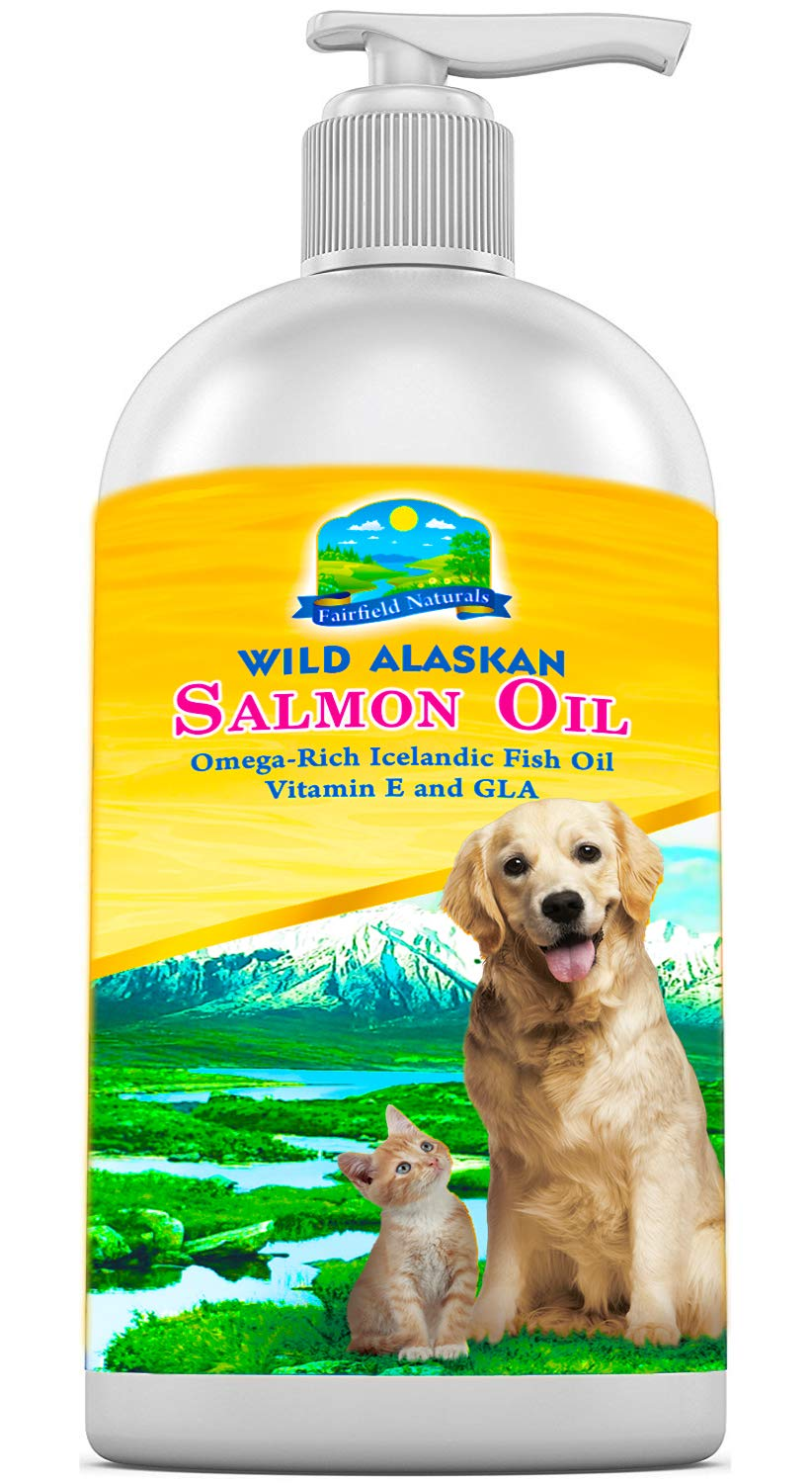 Fairfield Naturals Omega 3 Fish Oil Dogs & Cats - Dog Food Supplement Alaskan Salmon Oil, Icelandic Fish & Organic Borage Oil - GLA & Vitamin E + DHA