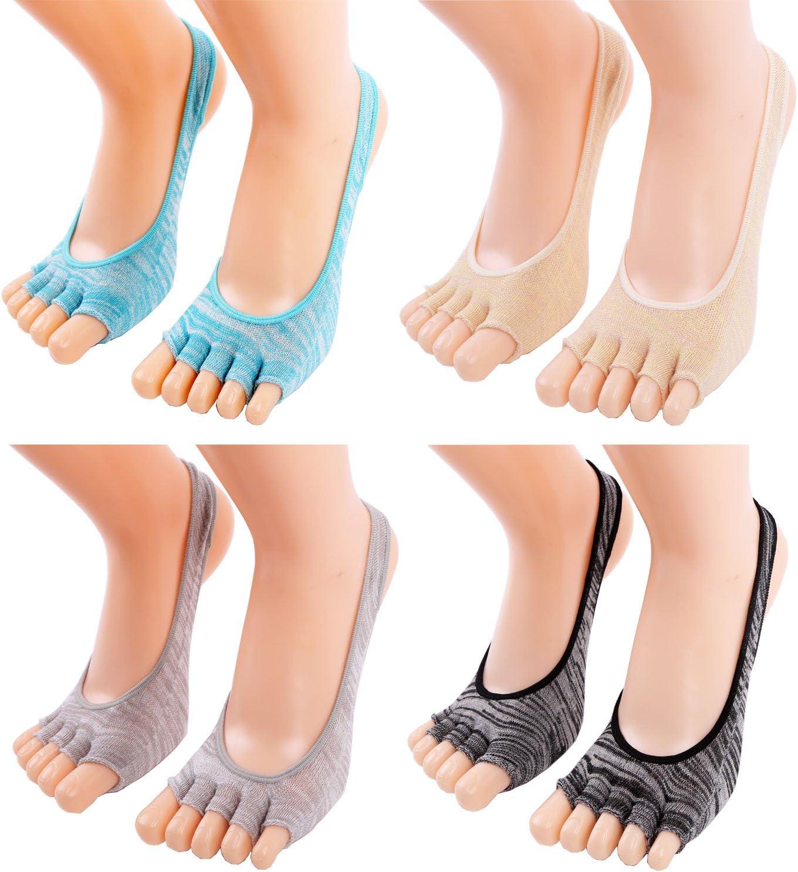 レディースつま先ヨガピラティスソックスノンスリップスキッド床バレエInvisible Sock withグリップ cotton sock-1
