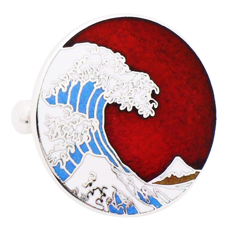 Hokusai Wave Cufflinks - Red