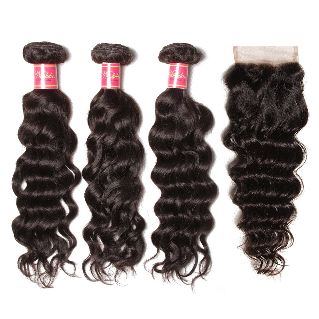 Nadula Brazilian Virgin Hair With Closure Natural Wave Hair Bundles With 4×4 Free Part Lace Closure 7A Brazilian Natural Wave Weave Cheap Remy Human Hair Entension Natural Color (14 16 18+12 Closure)