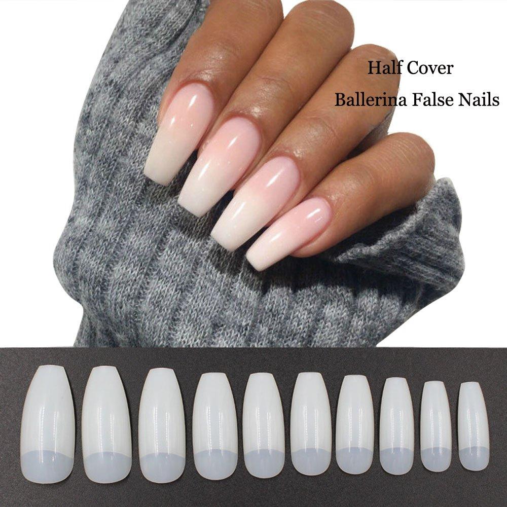 Artificial Nail Tips: Amazon.com : 500PCS Coffin Nails Half Cover Ballerina Nail