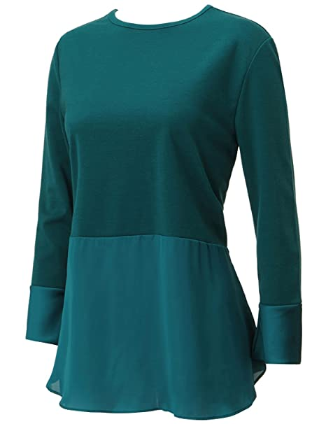 2ca74d83842 Regna X Basic Womens Round Neck Long Sleeve chiffon Versatile for work  office Blouse T-shirt Top Green Medium at Amazon Women s Clothing store