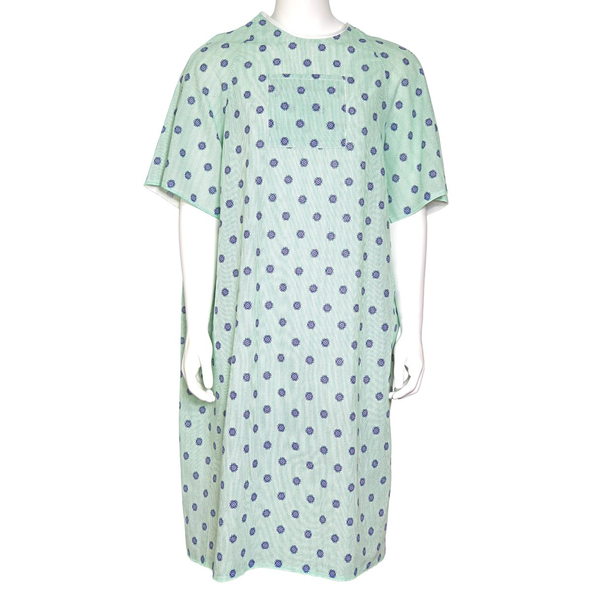 PREMIUM SELECT IV GOWN 68''S X 49''L - PRINT - GREEN STRIPES AND BLUE SNOW FLAKE PATTERN ON WHITE