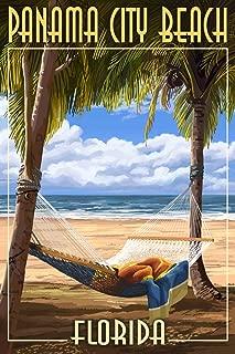 product image for Panama City Beach, Florida - Hammock and Palms (9x12 Art Print, Wall Decor Travel Poster)