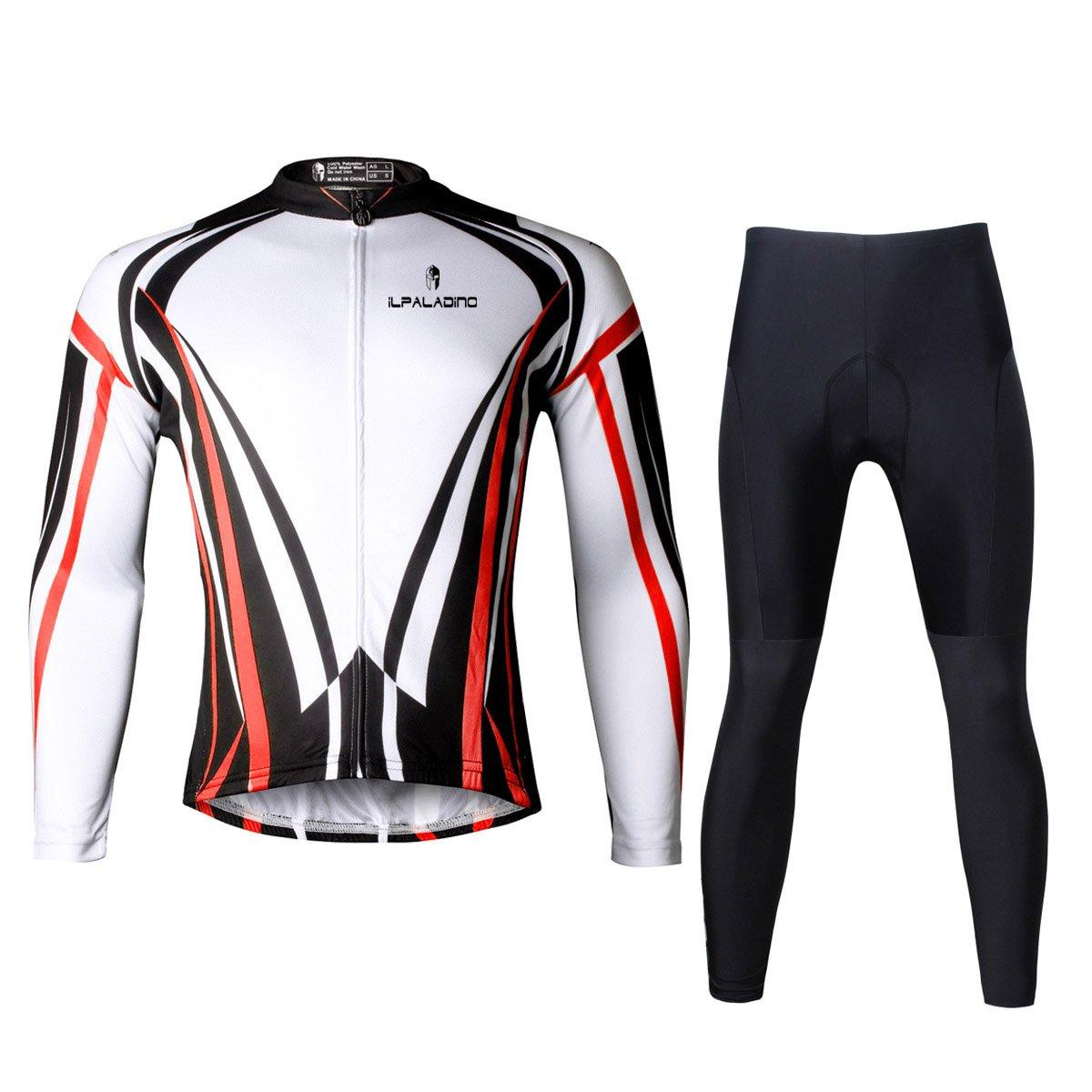 Ilpaladino Men's Cycling Jersey Long Sleeve Set Line Pattern Bike Shirts