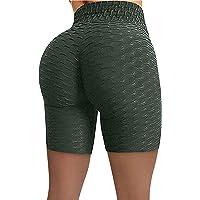 XOXSION Kvinnor rynkskydd hög midja hip stretch löpning fitness yoga byxor cyklist shorts fitnessbyxor yogabyxor…
