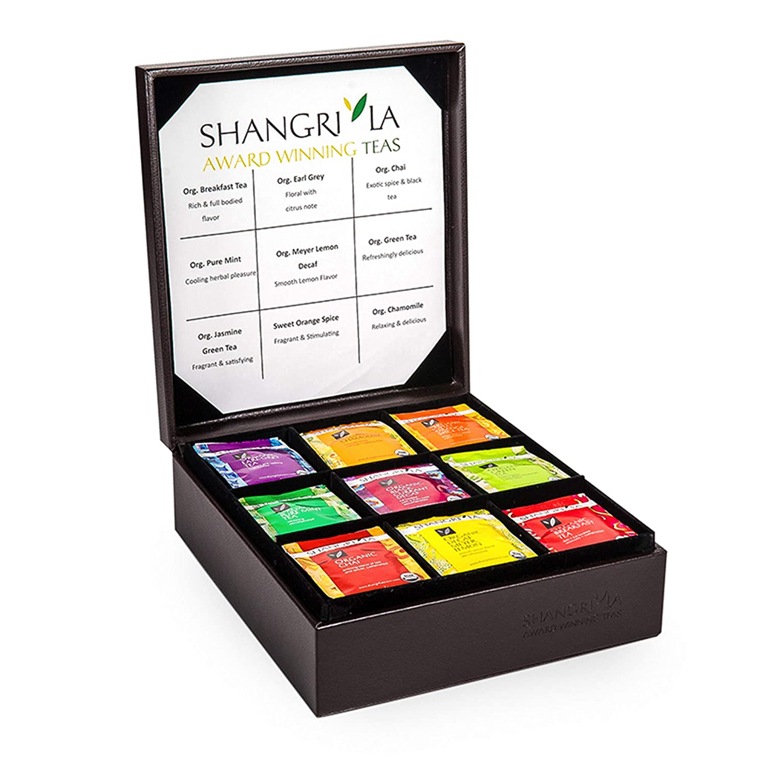 Shangri-La Tea Organic Luxury Teabag Collection, 81 Hot Tea Bags, 9 Different Flavors, Custom Gift Box, Assorted