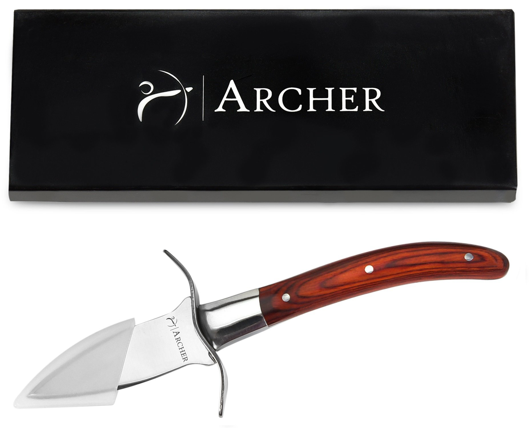 Oyster Knife by Archer - Premium Oyster Shucking Knife in Gift Box with Pakka Wood Handle, Mirror Finish Full Tang Blade, Hand-guard - Beautifully Made Compact Design Oyster Shell Shucker/Opener by Archer