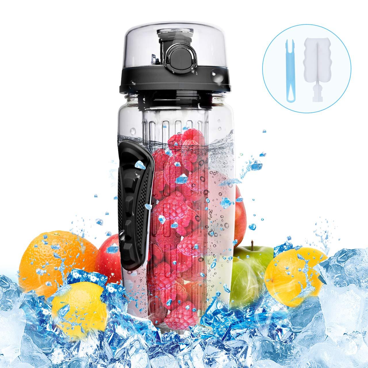 OMORC Botella de agua sin BPA con filtro infusor de frutas de facil limpieza (incluye