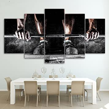 Guaitai 5 Pieces Weight Lifting Sports Canvas Wall Paintings Home