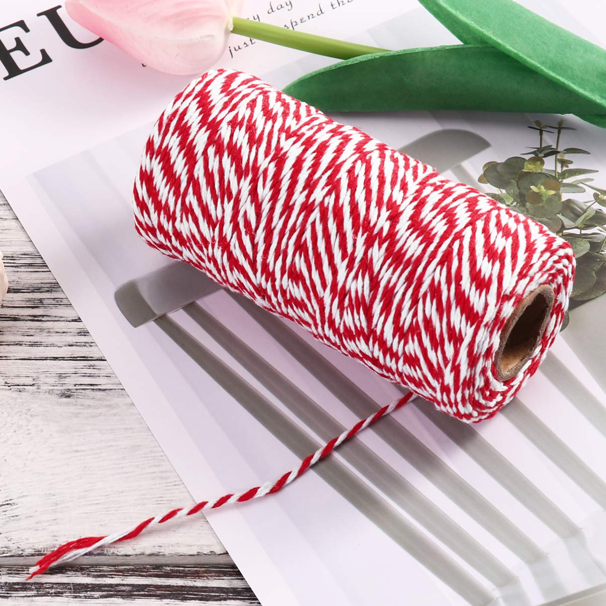 Artibetter 1 rotolo di spago per panettieri in cotone spago regalo di Natale decorativo per cottura al forno macellai artigianato e confezione regalo 100m rosso e bianco