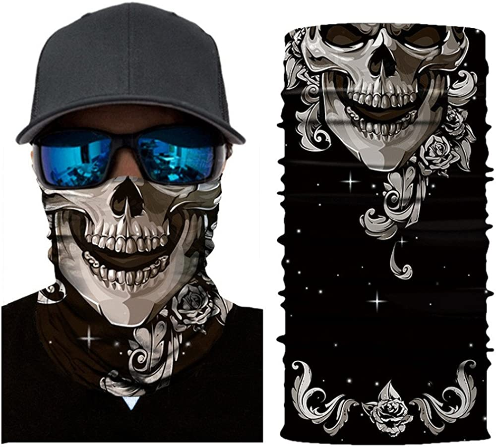 Lazzboy Cycling Motorcycle Head Scarf Neck Warmer Ski Balaclava Headband Sch/ädel Skull Motorrad Biker Snowboards Halb Staubschutz F/ür Outdoor