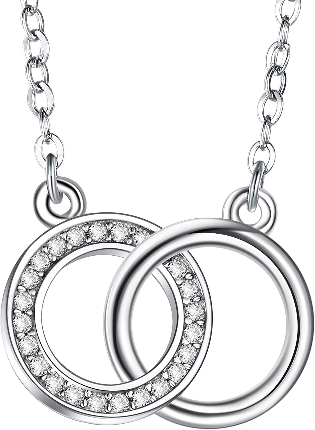 Interlocking Circles CZ Necklace 925 Sterling Silver Love Rings