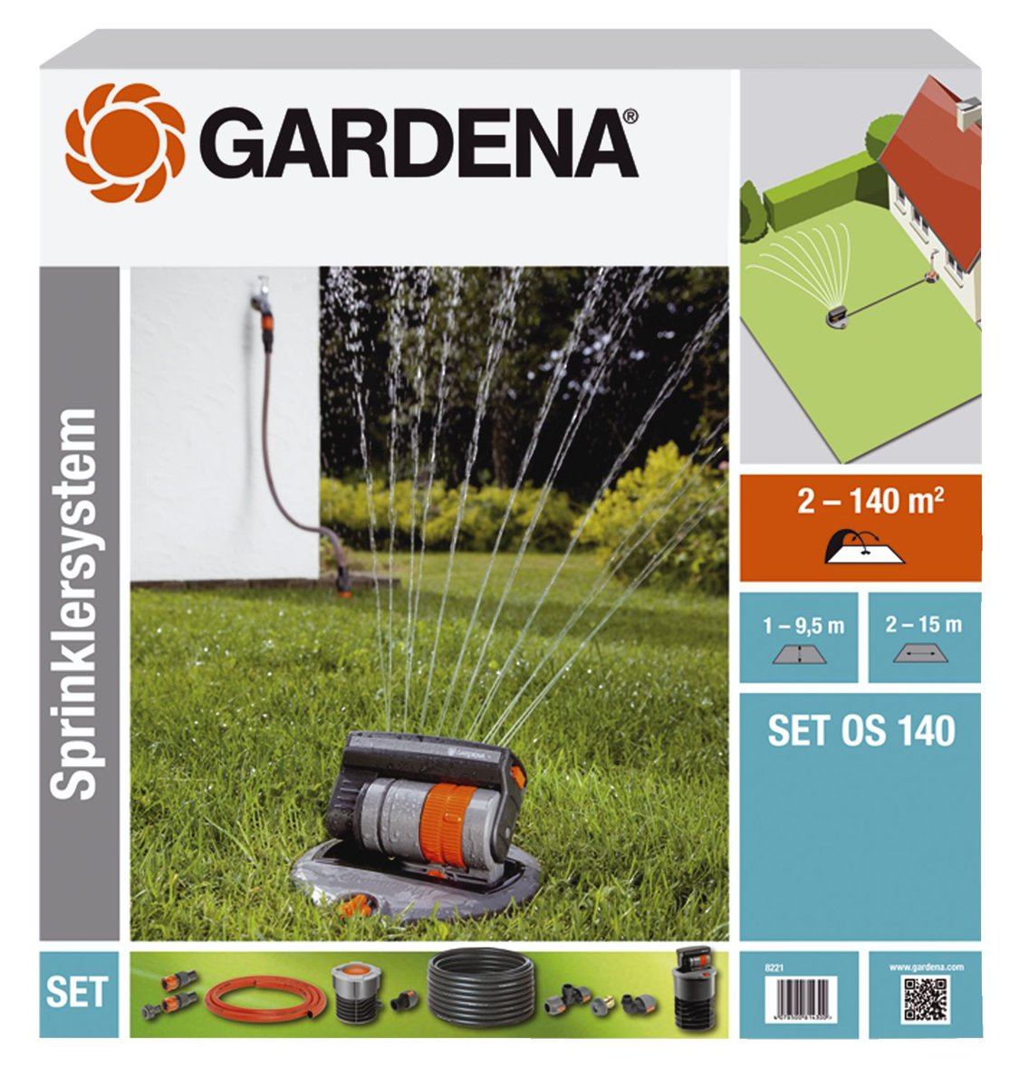 GARDENA OS 140 Complete Set with Pop-Up Oscillating Sprinkler by Gardena