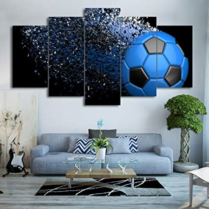 Waterproof Canvas Painting Wall Art Soccer Football Sports Themed Canvas Wall  Art For Boys Room Wall