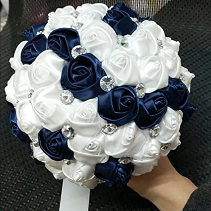 Navy Blue Wedding.Dwedding Wedding Bouquet Navy Blue Ivory Bridesmaid Bouquet Bridal Bouquet With Crystals Soft Ribbons Artificial Rose Flowers For Wedding Party