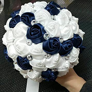 Amazon wedding bouquet navy blueivory bridesmaid bouquet wedding bouquet navy blueivory bridesmaid bouquet bridal bouquet with crystals soft ribbons mightylinksfo