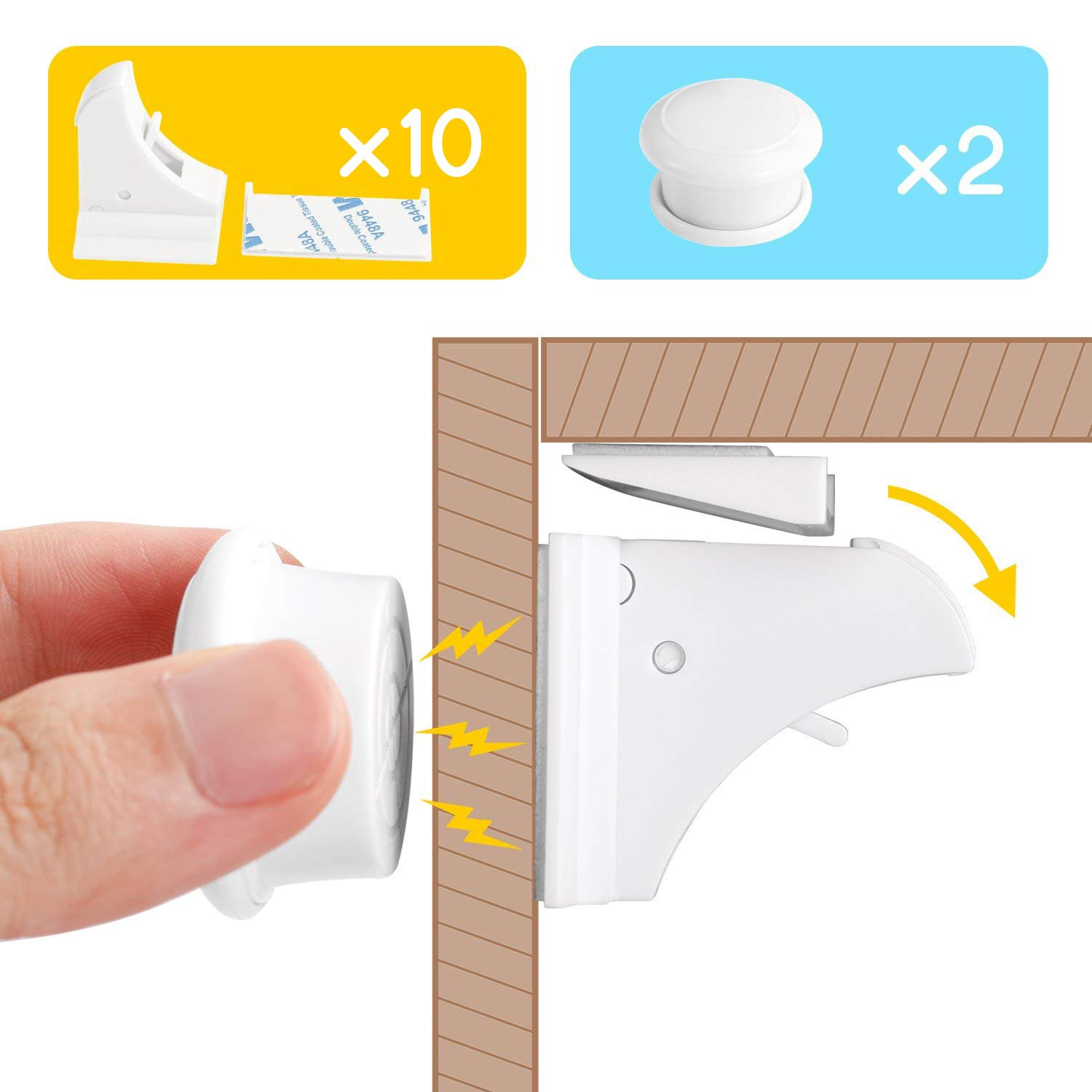 Baby Safety Magic Cupboard Locks Set 10 Locks+2 Keys Strong Magnetic Adhesive Lock No Drilling No Tools and Screw Easy install for Cabinets and Drawers to Protect Your Kids-White LEVIN