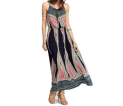 Twilaisaac Fashion Elegante Geo-Tribal Imprimir Amarrado Frente Cami Vestidos Femininas de Cintura Alta Maxi