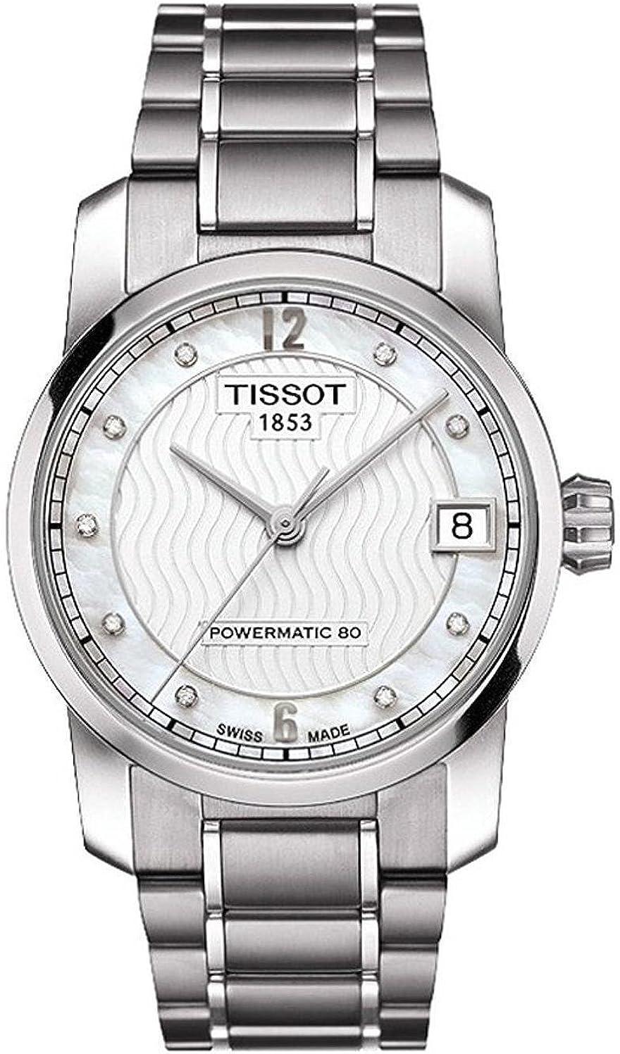Tissot T0872074411600 - Reloj automático para mujer, esfera de nácar, titanio