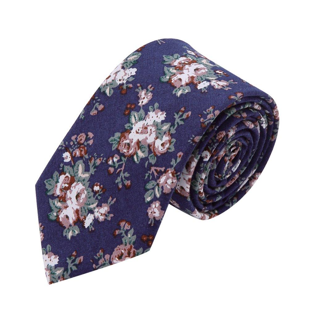 AUSKY 4 Packs Mens Ties Fashion Floral Printed Cotton Slim Skinny Neckties (Floral F) by AUSKY (Image #5)