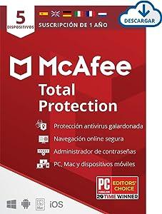 McAfee Total Protection 2021, 5 Dispositivos, 1 Año, Software Antivirus, Seguridad de Internet, Manager de Contraseñas, Seguridad Móvil, Compatible con PC/Mac/Android/iOS, Edición Europea, Descargable