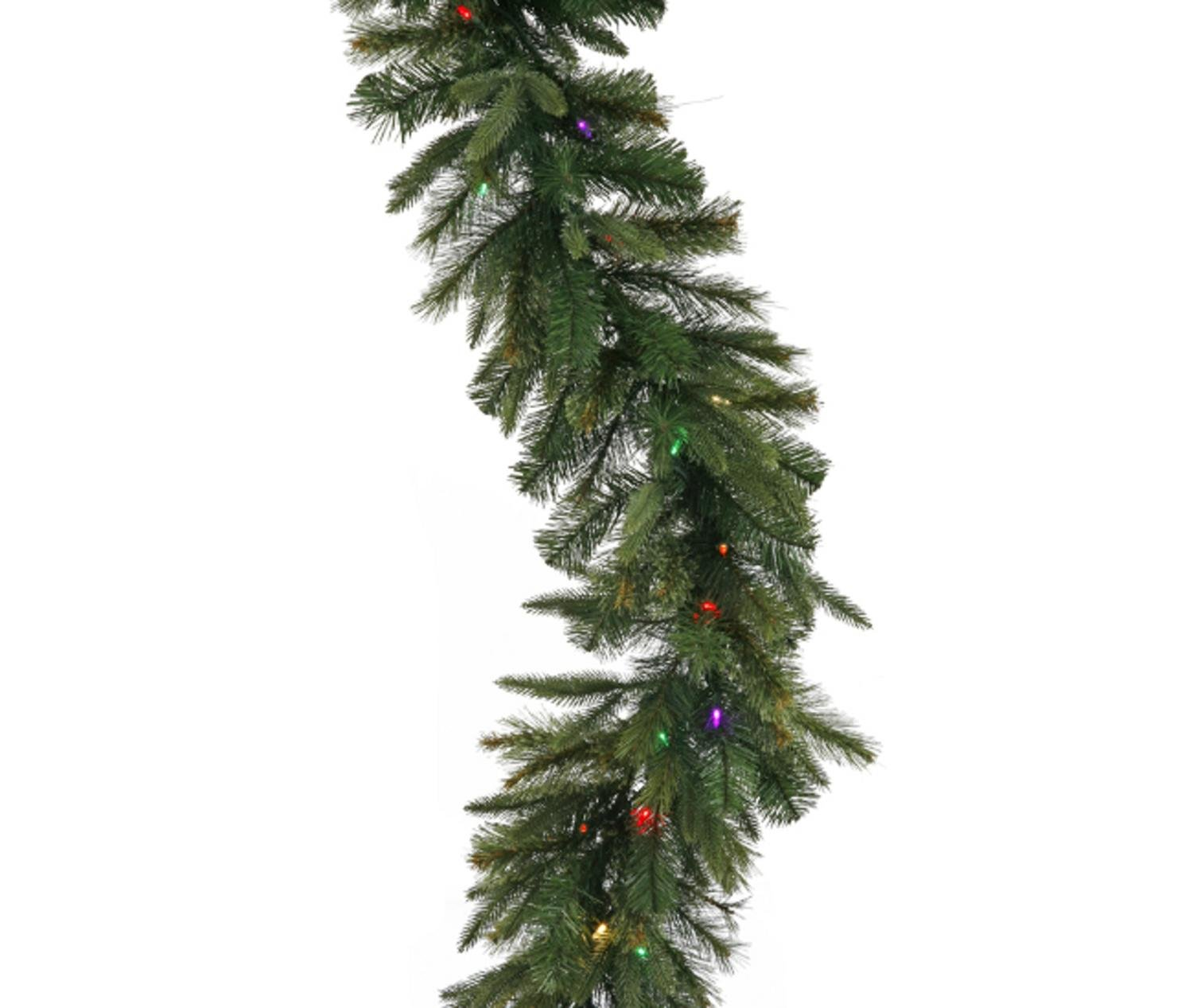 Vickerman 9' x 14'' Pre-Lit Mixed Cashmere Pine Artificial Christmas Garland - Multi-Color LED Lights