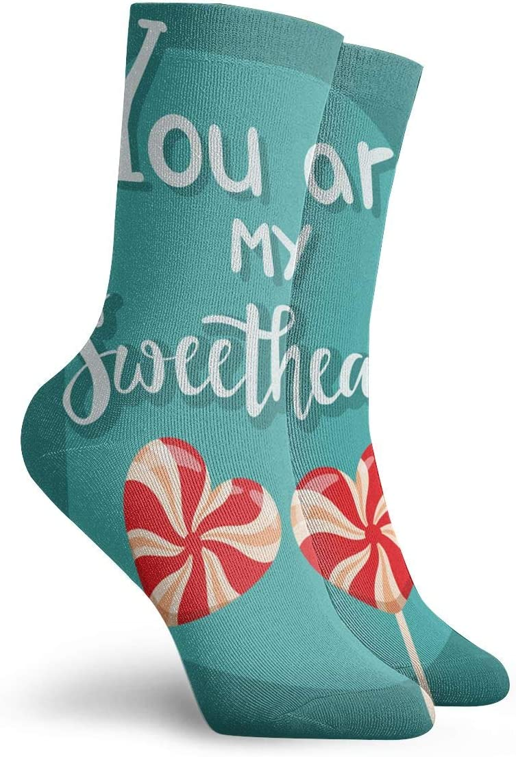 SARA NELL Novelty Funny Crazy Crew Sock Happy Valentines Day Blue Printed Sport Athletic Socks 30cm Long Personalized Gift Socks