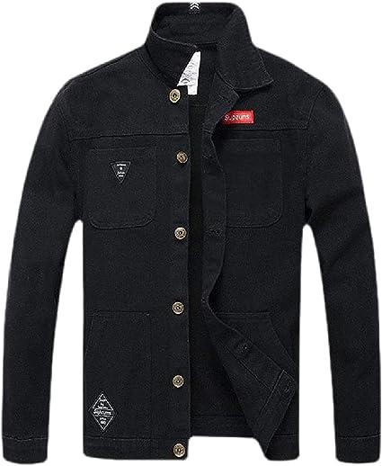 Men Stretch Windbreaker Slim Button Down Camouflage Print Denim Jacket Coat