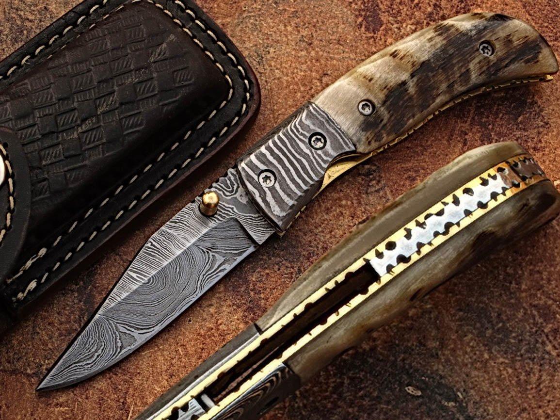 Custom Made Damaskus 15,7cm Taschenmesser mit Awesome Rare RAM Horn Griff & Zusammenklappbar Damaskus Nackenrolle, Klinge unter 7,6cm (bdm-722)