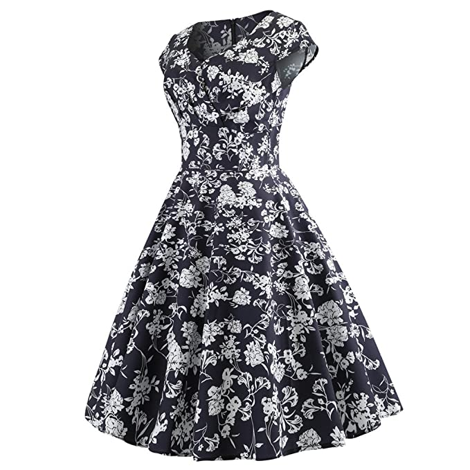 Women Dress Godathe Fashion Women Vintage Ruched V Neck Evening Printing Party Prom Swing Dress S-2XL at Amazon Womens Clothing store: