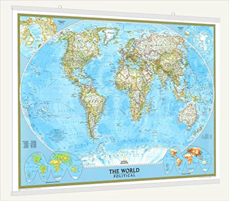 National geographic classic laminated world wall map with fitted national geographic classic laminated world wall map with fitted poster hangers 46quot gumiabroncs Choice Image