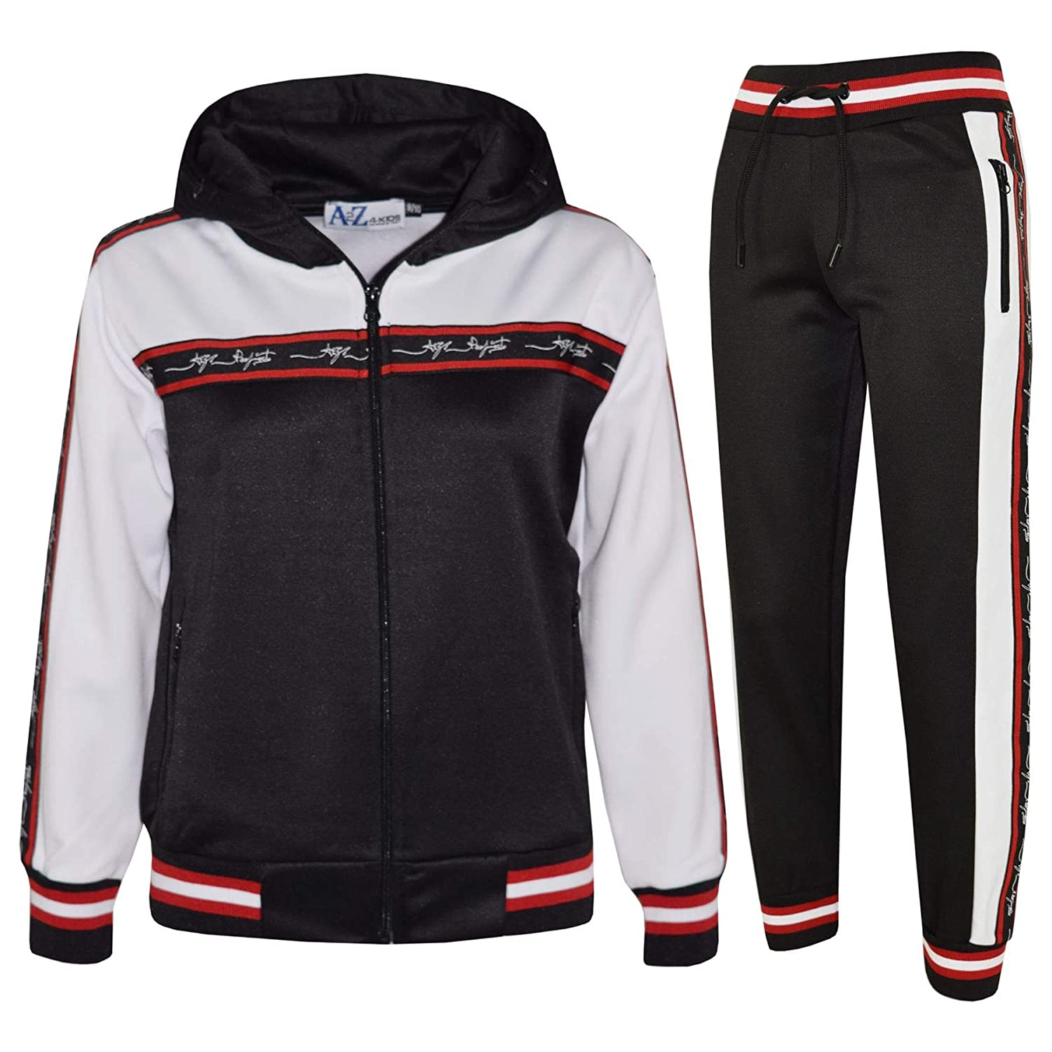 Kids Boys Girls Tracksuit A2Z Project Signature Taped Hooded Top Bottom Jog Suit