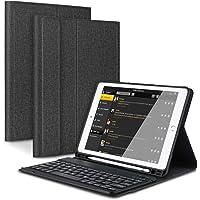 CoastaCloud Hülle für iPad 9.7 Zoll 2018/2017 / Pro 9.7 / Air 1 / Air 2 mit Stifthalter Schutzhülle Ständer mit Deutscher Bluethooth Tastatur QWERTZ Drahtlos Abnehmbar (Schwarz)