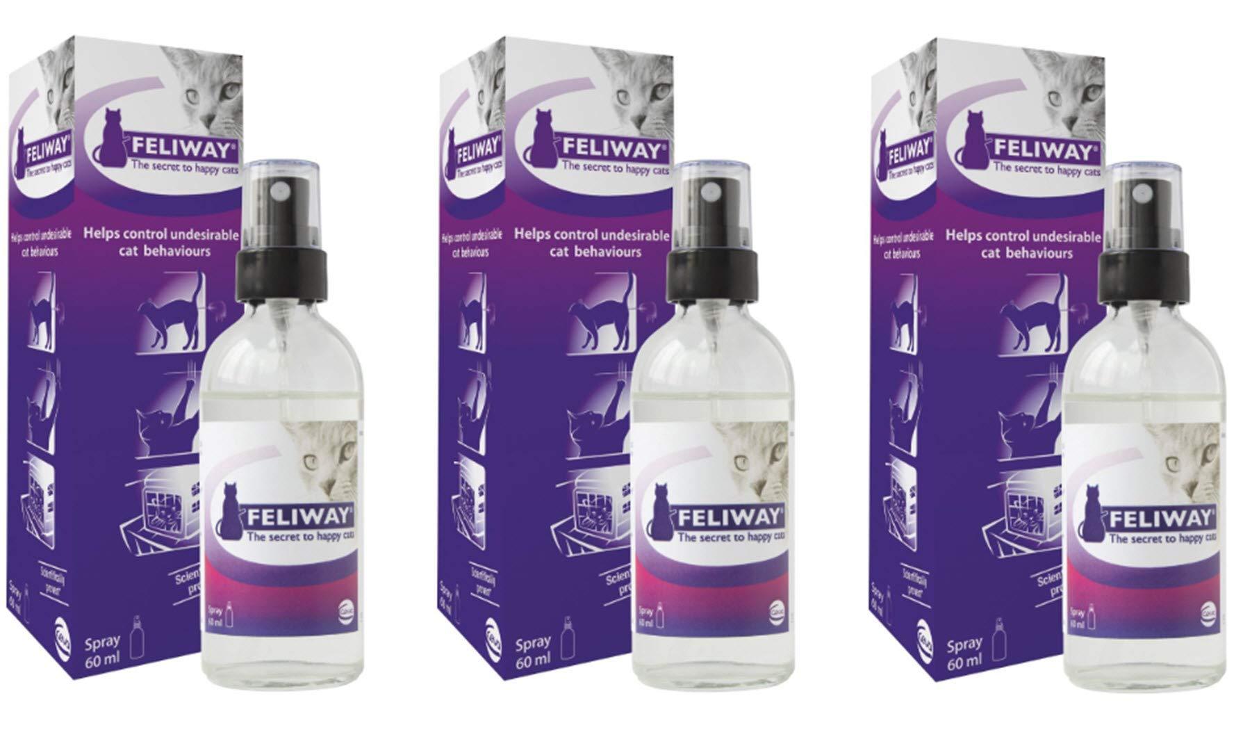 Feliway Spray 60 ml Cat Feline Stress Behavior Relief Urine Spraying Scratching (3-Pack)